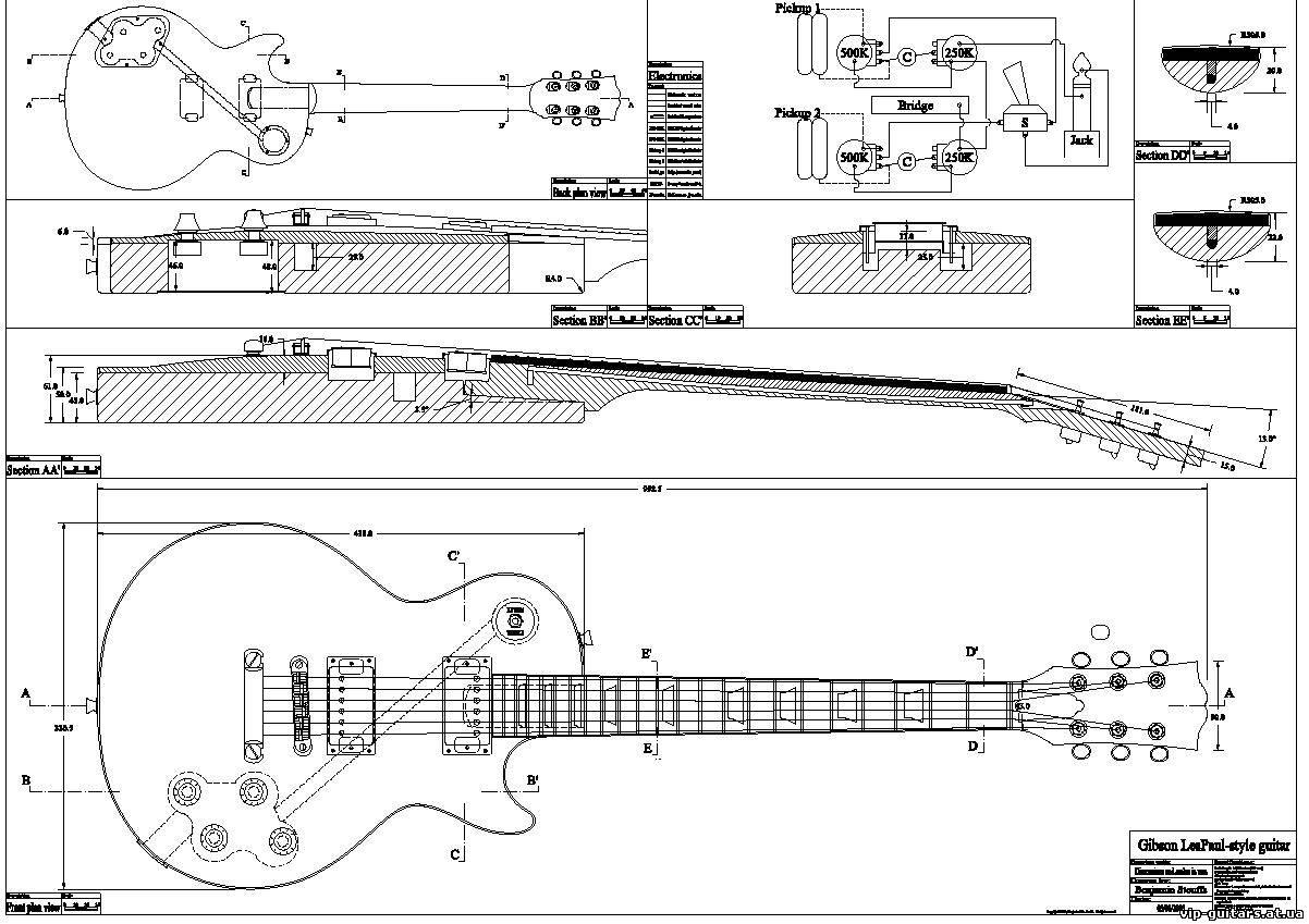 Схема размеров гитары